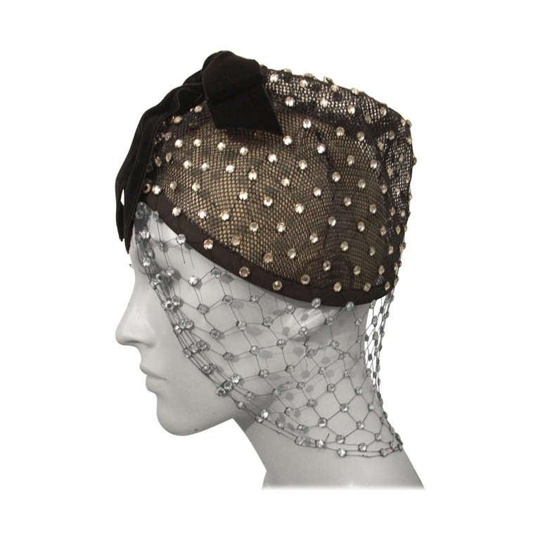 1950s Custom Made Hat w/ Rhinestone Veil -- Made For Yma Sumac
