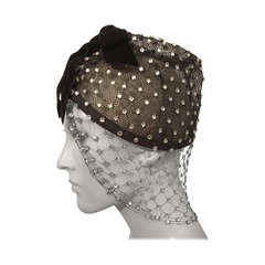 1950s Custom Made Hat w/ Rhinestone Veil -- Made For Yma Sumac