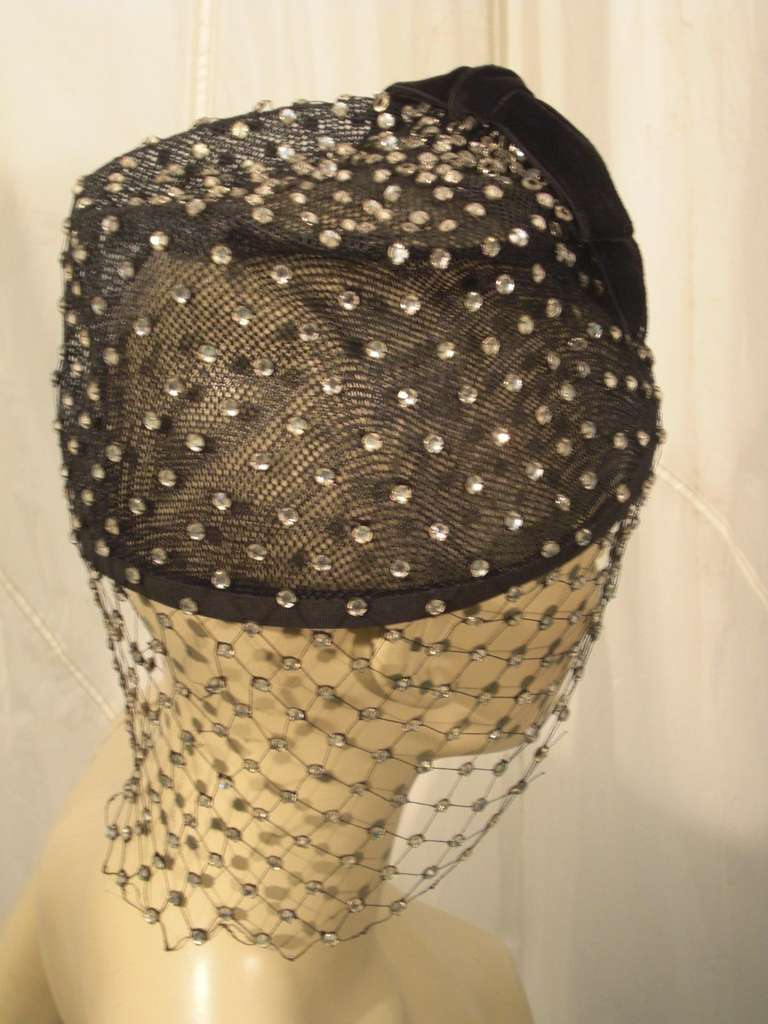 1950s Custom Made Hat w/ Rhinestone Veil -- Made For Yma Sumac 4