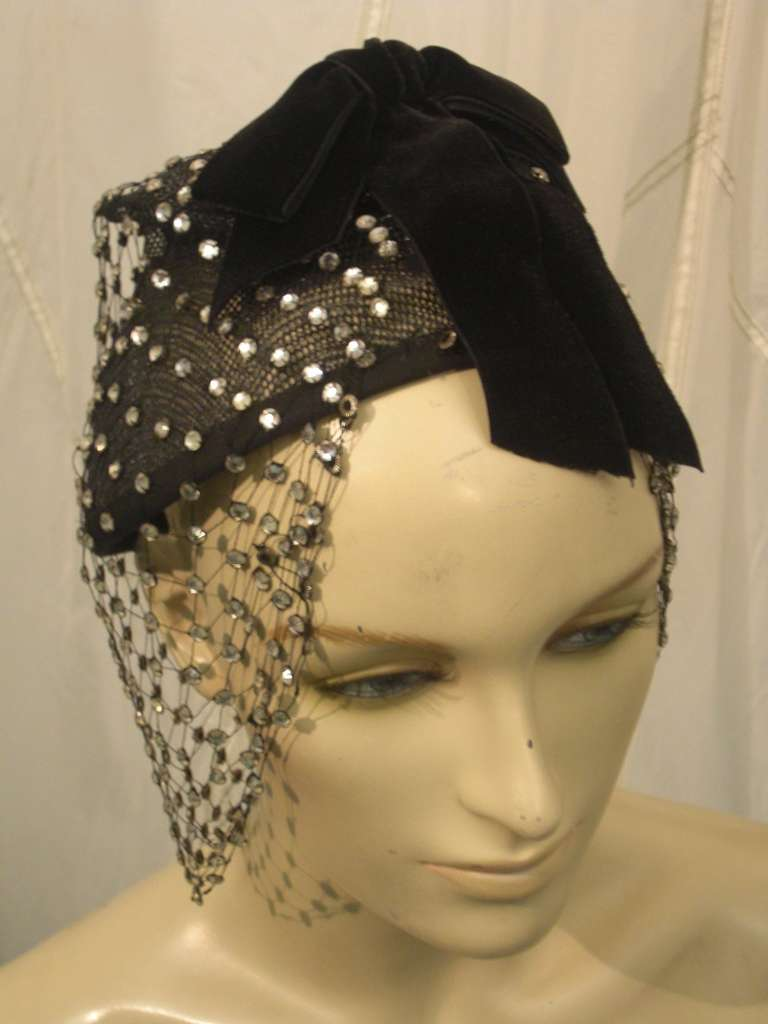 1950s Custom Made Hat w/ Rhinestone Veil -- Made For Yma Sumac 2