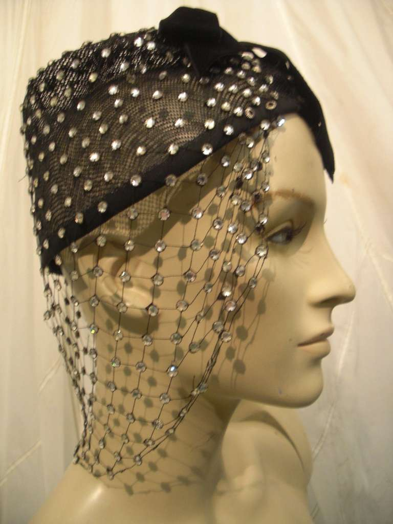 1950s Custom Made Hat w/ Rhinestone Veil -- Made For Yma Sumac 7