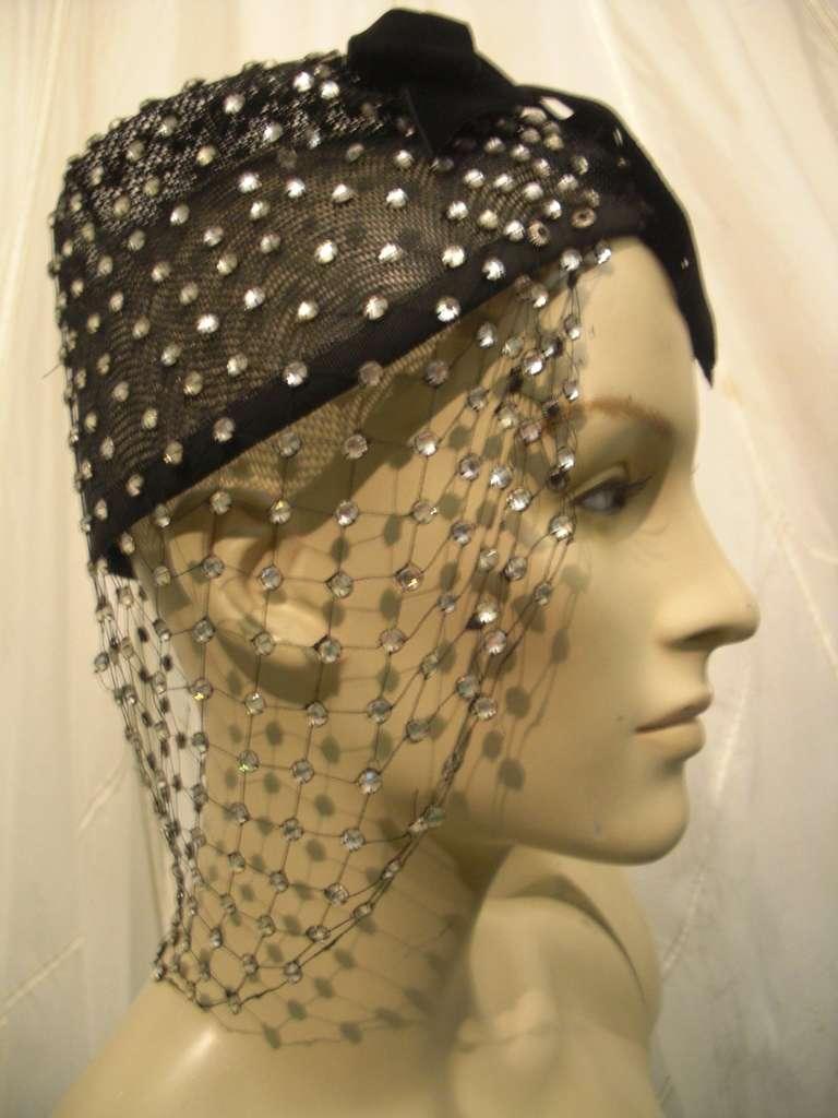 1950s Custom Made Hat w/ Rhinestone Veil -- Made For Yma Sumac 8