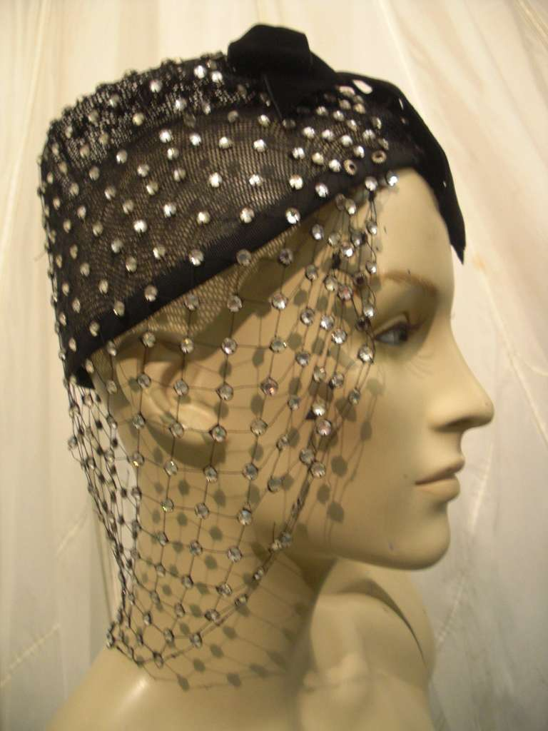 1950s Custom Made Hat w/ Rhinestone Veil -- Made For Yma Sumac 3