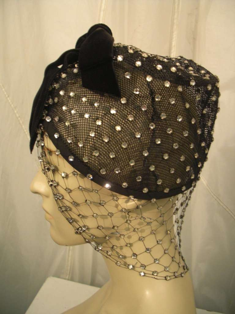 1950s Custom Made Hat w/ Rhinestone Veil -- Made For Yma Sumac 9