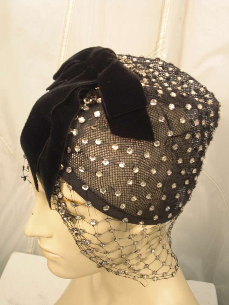 1950s Custom Made Hat w/ Rhinestone Veil -- Made For Yma Sumac 10