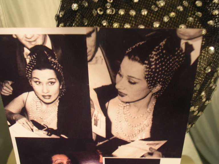 1950s Custom Made Hat w/ Rhinestone Veil -- Made For Yma Sumac 5