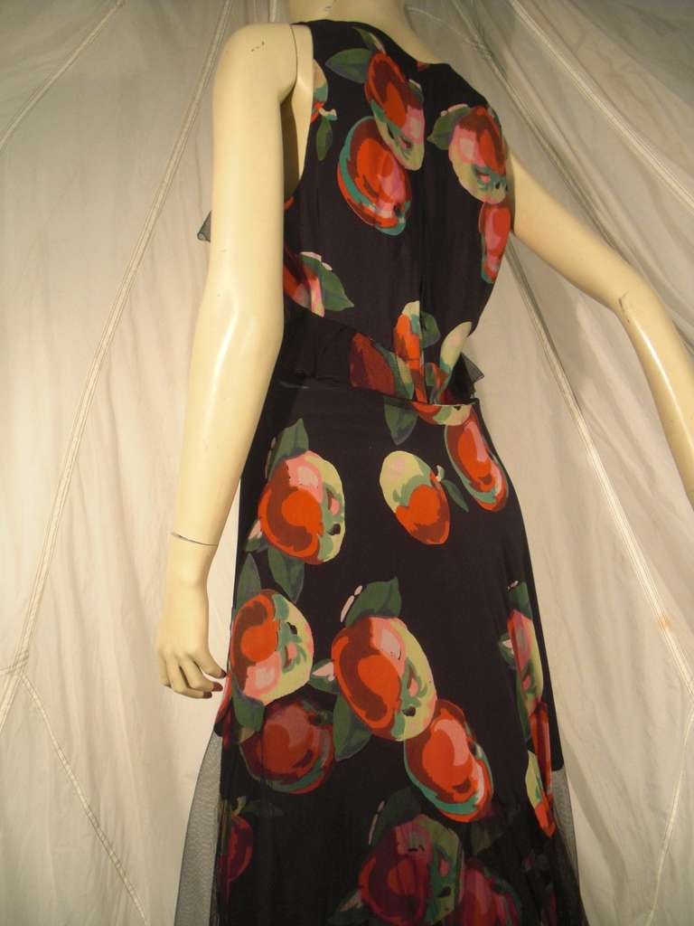 Black 1930s Silk Net and Crepe Gown and Skirt Overlay w/ Apple Print Applique For Sale