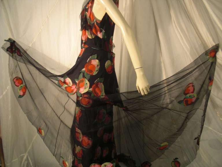 1930s Silk Net and Crepe Gown and Skirt Overlay w/ Apple Print Applique For Sale 5