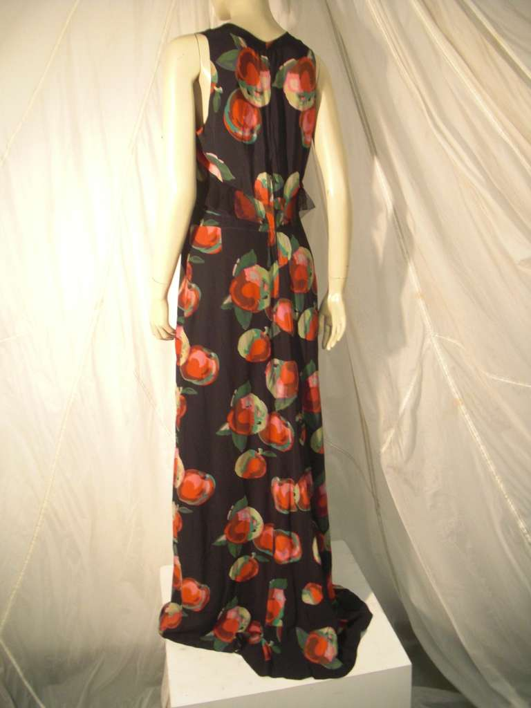 1930s Silk Net and Crepe Gown and Skirt Overlay w/ Apple Print Applique For Sale 1