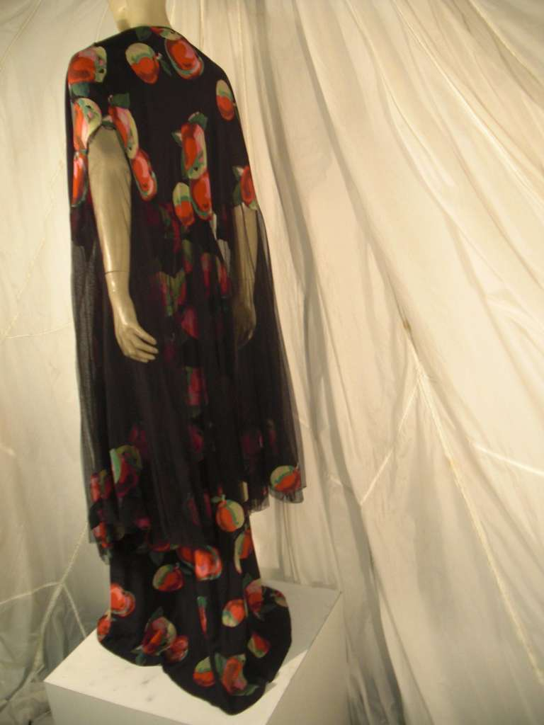 1930s Silk Net and Crepe Gown and Skirt Overlay w/ Apple Print Applique For Sale 3
