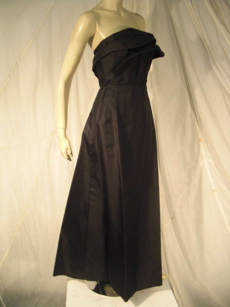 1960s Pauline Trigere Silk Strapless Organza Gown and Cape 2