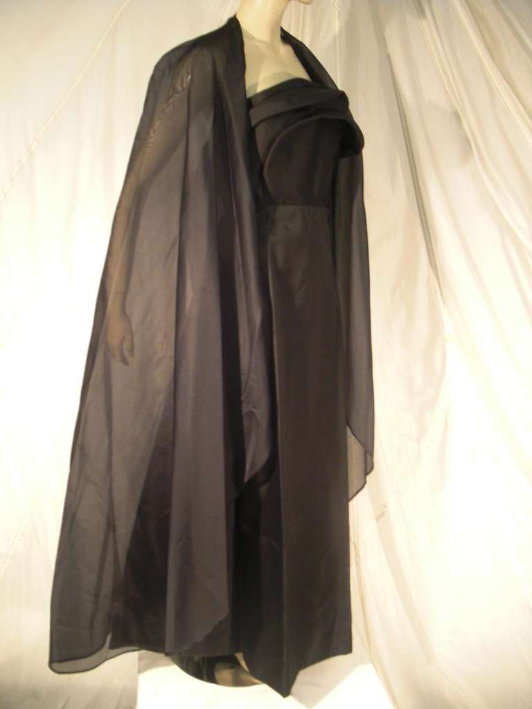 1960s Pauline Trigere Silk Strapless Organza Gown and Cape 3