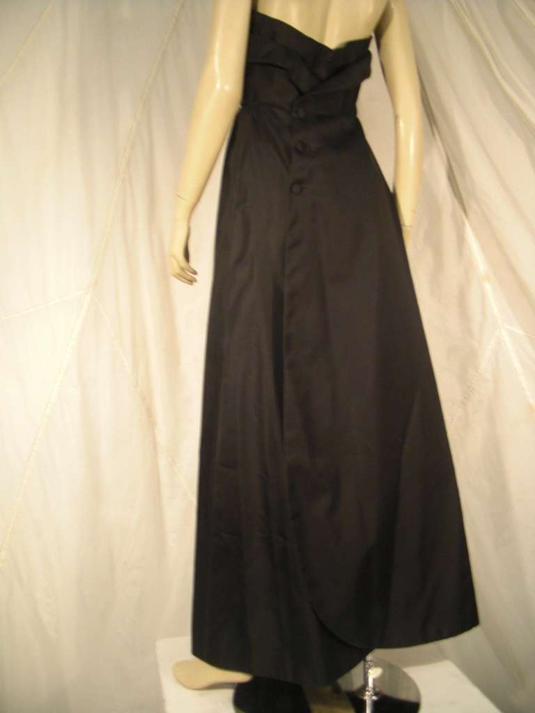 1960s Pauline Trigere Silk Strapless Organza Gown and Cape 6