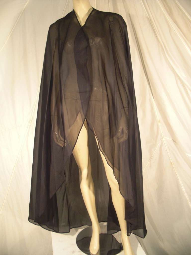1960s Pauline Trigere Silk Strapless Organza Gown and Cape 9