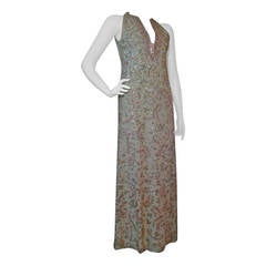 Stunning 1960s Beaded and Sequined Sleeveless Silk Gown in Mint and Coral