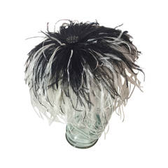 1950s Black and White Ostrich Feather Hat Attributed To William J.