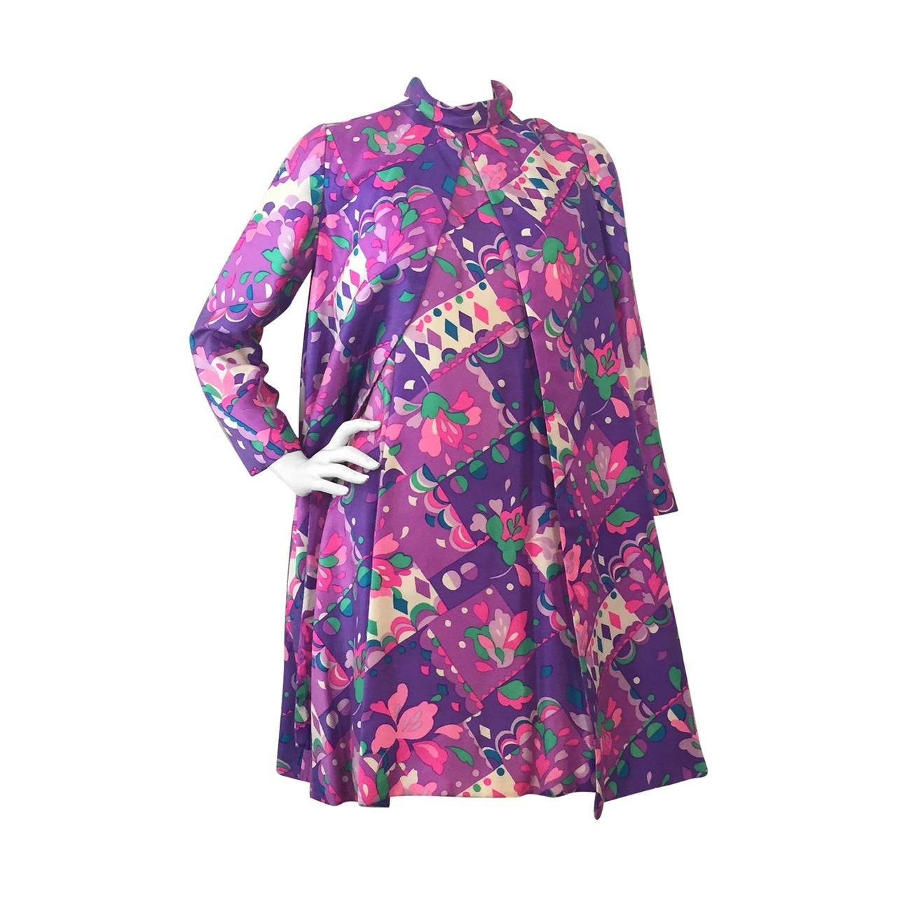1960s Kiki Hart 2-Piece Silk Mod Print Mini Dress and Coat Ensemble