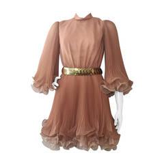 1960s Miss Elliette Taupe and Beige Mini Dress w/ Pleats and Ruffles