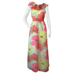 1960s Kiki Hart Poppy Print Organza Maxi Dress with Ruffled Collar