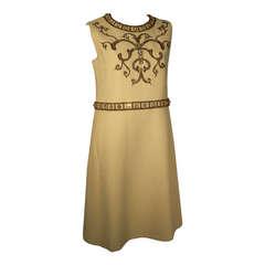 "1960s Cardinali ""Greco-Roman"" Wool Cocktail Mini Dress w/ Beadwork Detail"