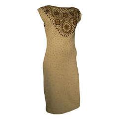 1960s Gene Shelley Wool Knit Bronzed Beaded Cocktail Dress