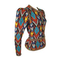 Yves Saint Laurent Ikat Pattern Knit Jacket with Peplum - Unlabeled.