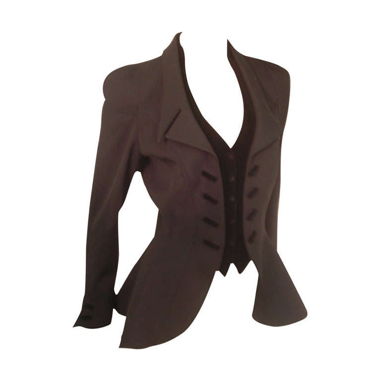 """1980s Thierry Mugler  Exaggerated """"Riding Habit"""" Style Jacket 1"""