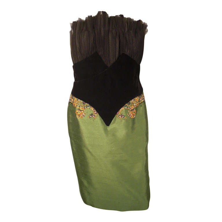 """Dior Haute Couture Cocktail Dress w/ Velvet """"Corset"""" Detailing and Pleated Bust For Sale"""