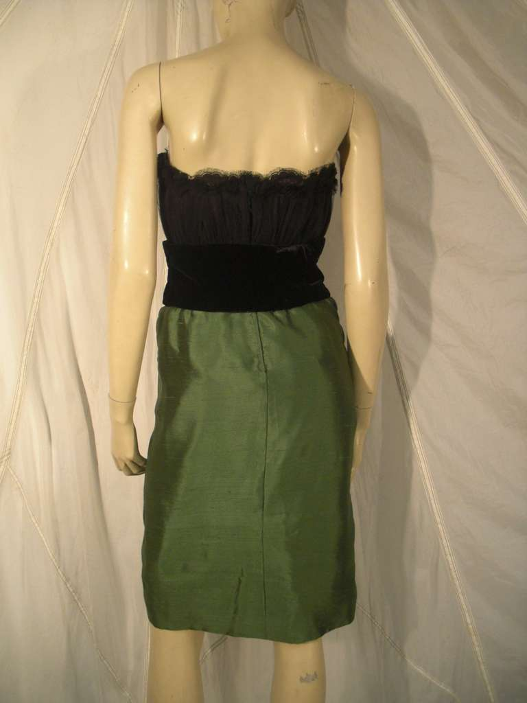 """Women's Dior Haute Couture Cocktail Dress w/ Velvet """"Corset"""" Detailing and Pleated Bust For Sale"""