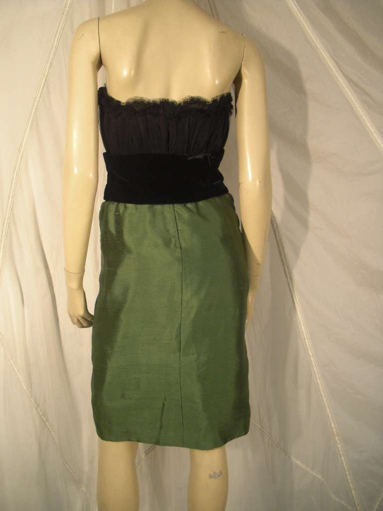 """Dior Haute Couture Cocktail Dress w/ Velvet """"Corset"""" Detailing and Pleated Bust For Sale 1"""
