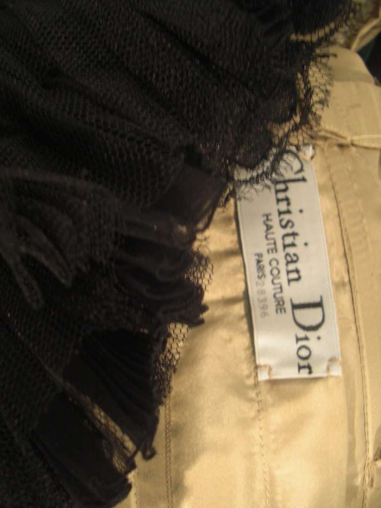 """Dior Haute Couture Cocktail Dress w/ Velvet """"Corset"""" Detailing and Pleated Bust For Sale 3"""