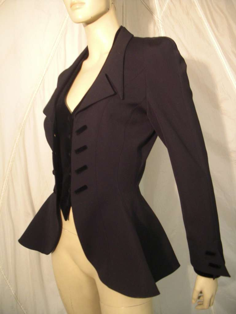 """1980s Thierry Mugler  Exaggerated """"Riding Habit"""" Style Jacket 2"""