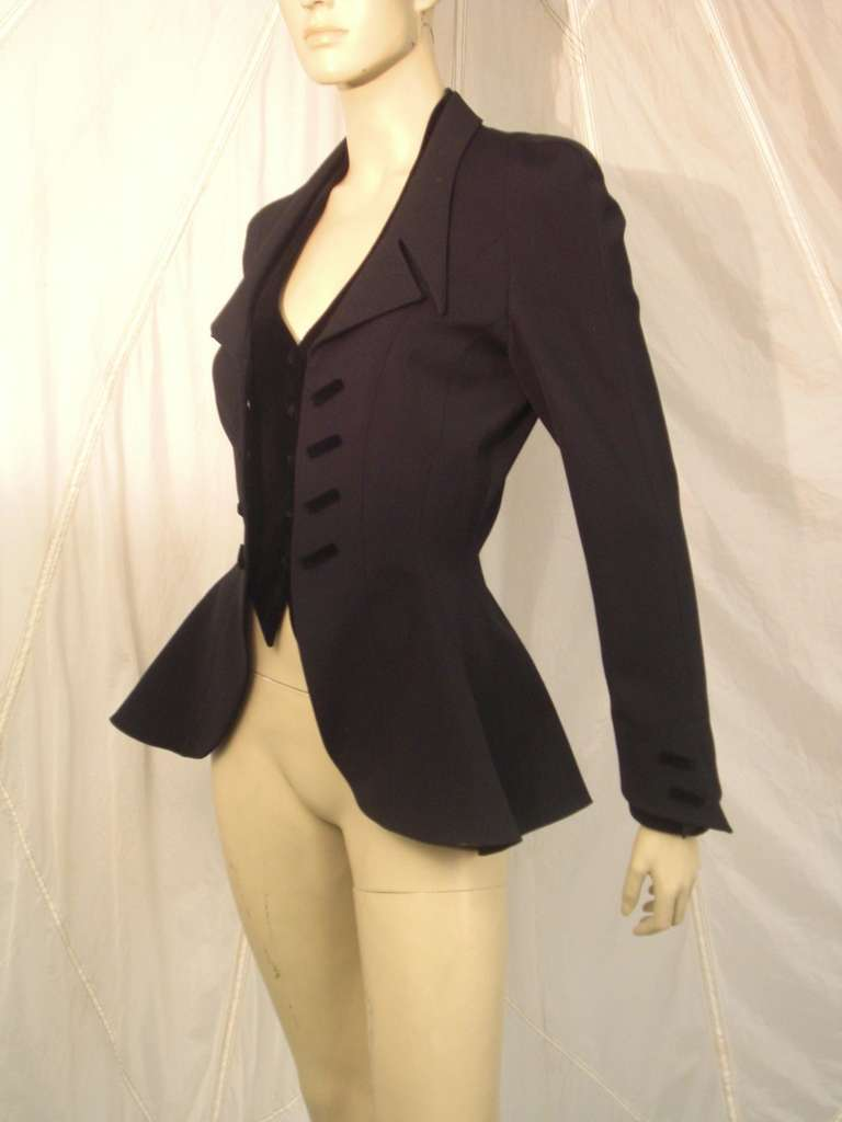 """1980s Thierry Mugler  Exaggerated """"Riding Habit"""" Style Jacket 3"""