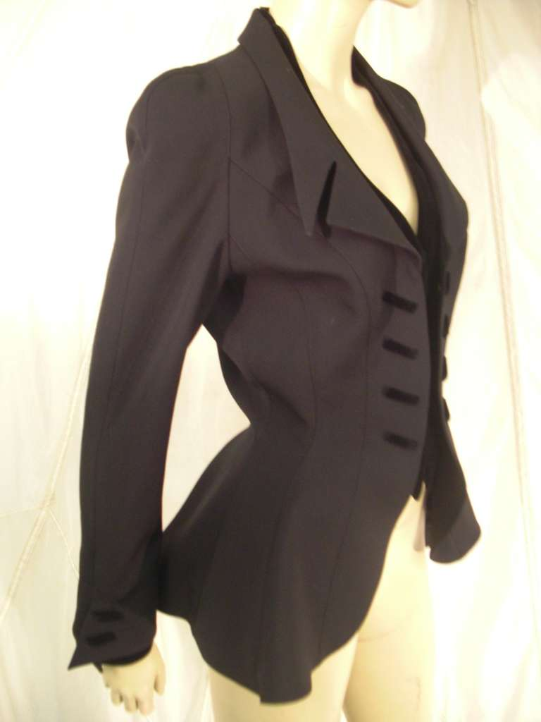"""1980s Thierry Mugler  Exaggerated """"Riding Habit"""" Style Jacket 6"""