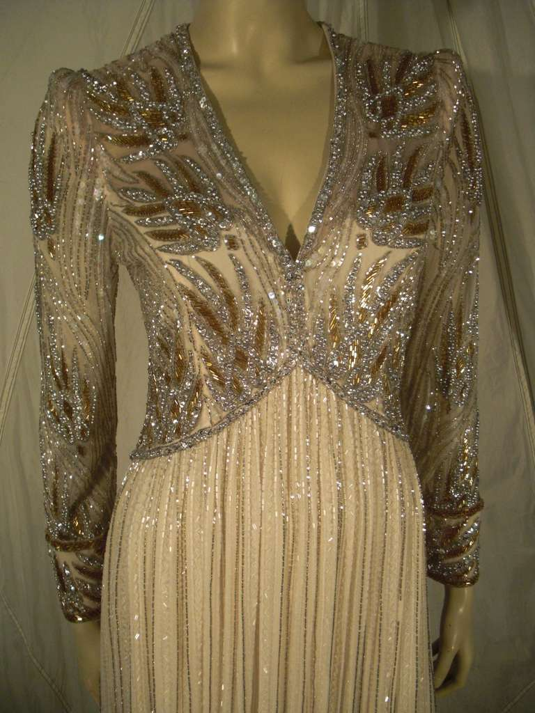 1970s Bob Mackie Silk Beaded Evening Gown 2