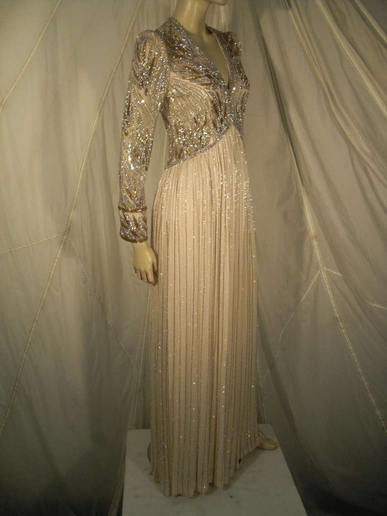 1970s Bob Mackie Silk Beaded Evening Gown 4