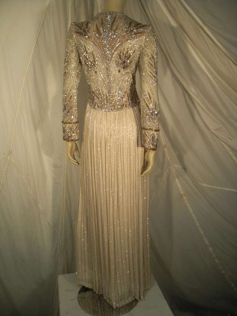 1970s Bob Mackie Silk Beaded Evening Gown 5