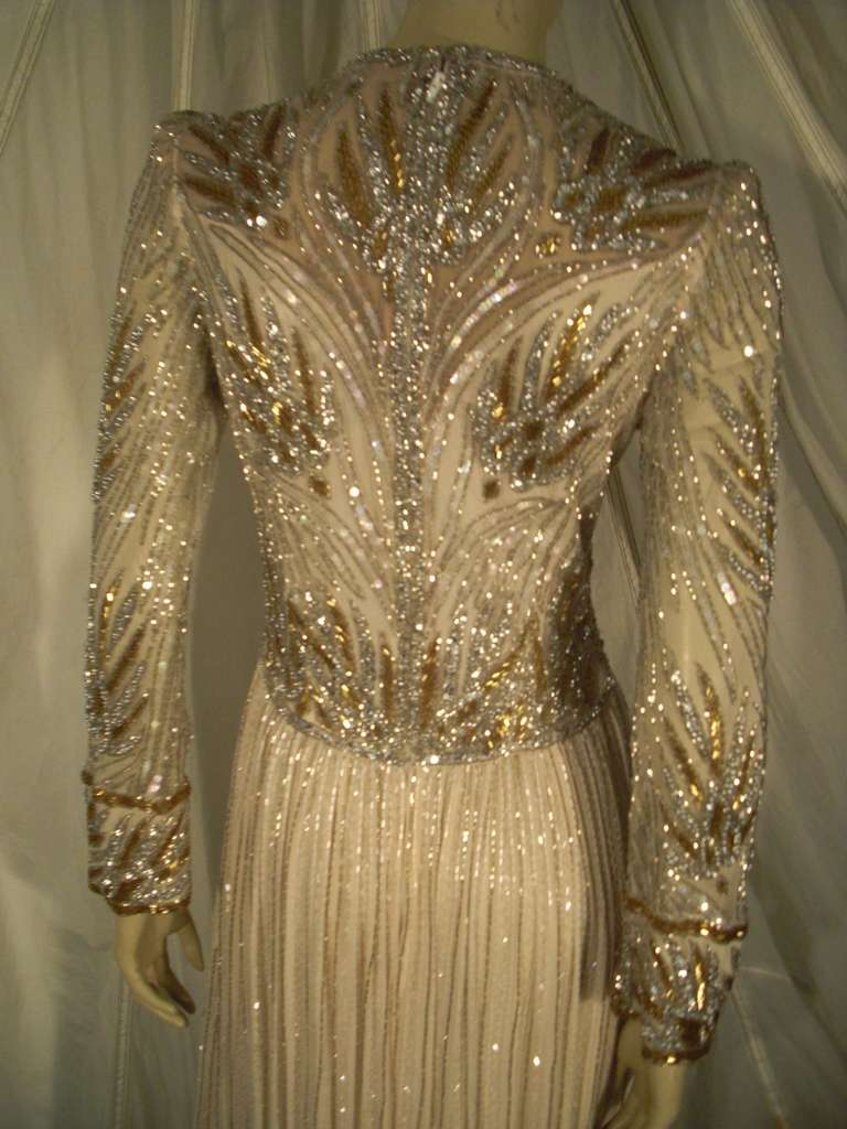 1970s Bob Mackie Silk Beaded Evening Gown 6