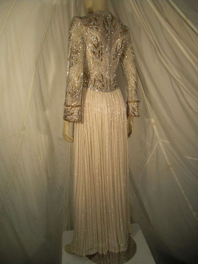 1970s Bob Mackie Silk Beaded Evening Gown 7