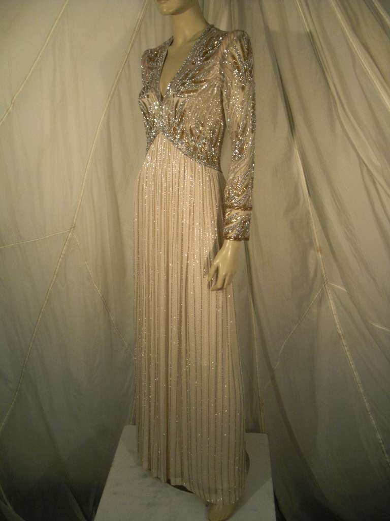1970s Bob Mackie Silk Beaded Evening Gown 8