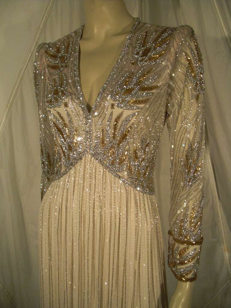 1970s Bob Mackie Silk Beaded Evening Gown 9