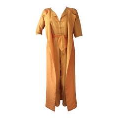 1960s Dynasty 2-Piece Jacquard Dragon Patterned Jumpsuit w/ Vest