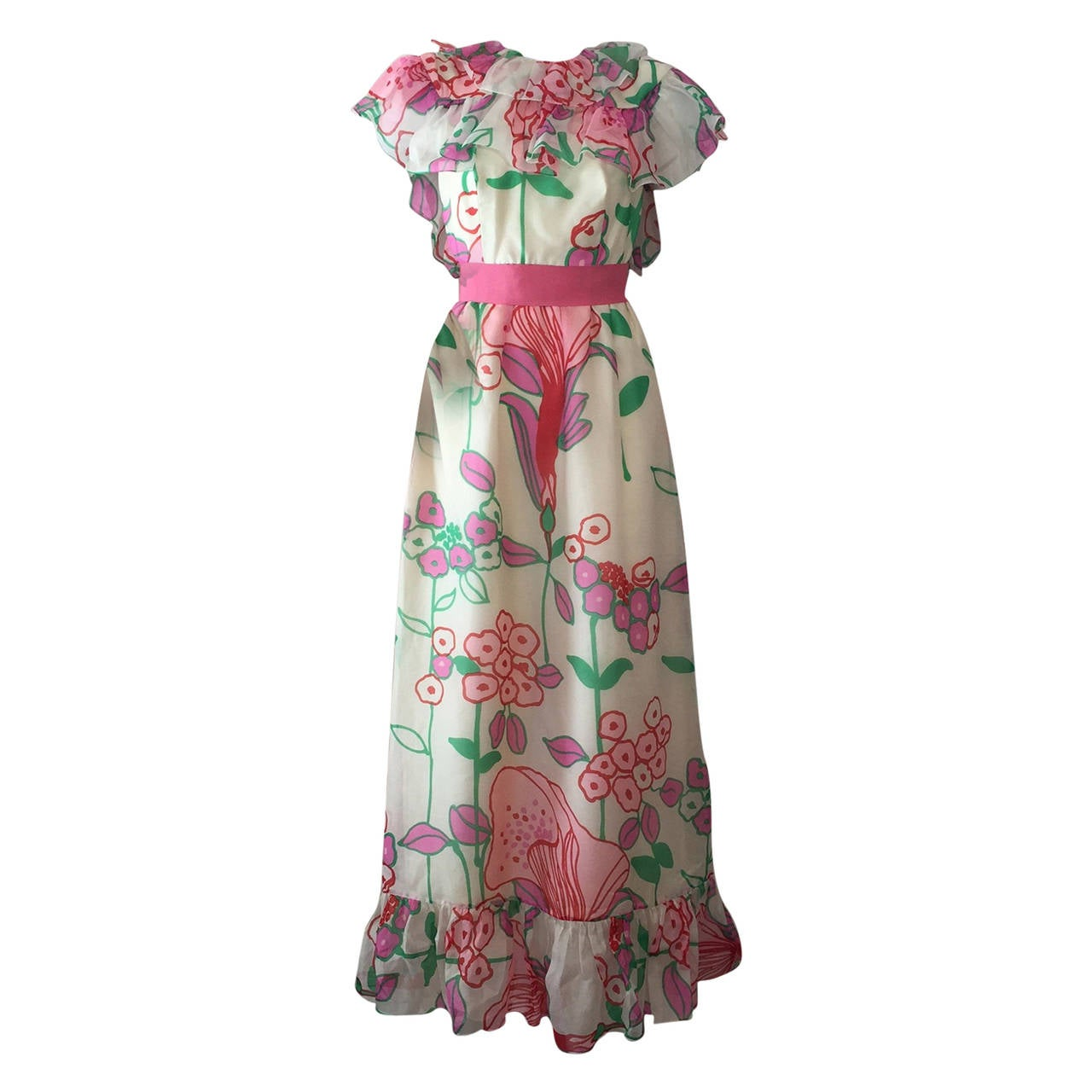 1960s Kiki Hart Floral Print Organza Maxi Dress with Ruffled Collar