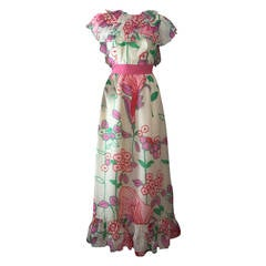 1960s Kiki Hart Floral Print Organza Maxi Dress with Ruffled Collar