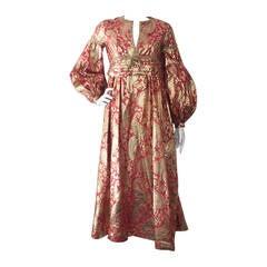 1960s Rizkallah for Malcolm Starr Lame Brocade Empire Gown w/ Rhinestones