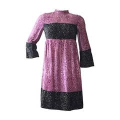 1960s Geoffrey Beene Empire Panne Velvet Mini Dress l