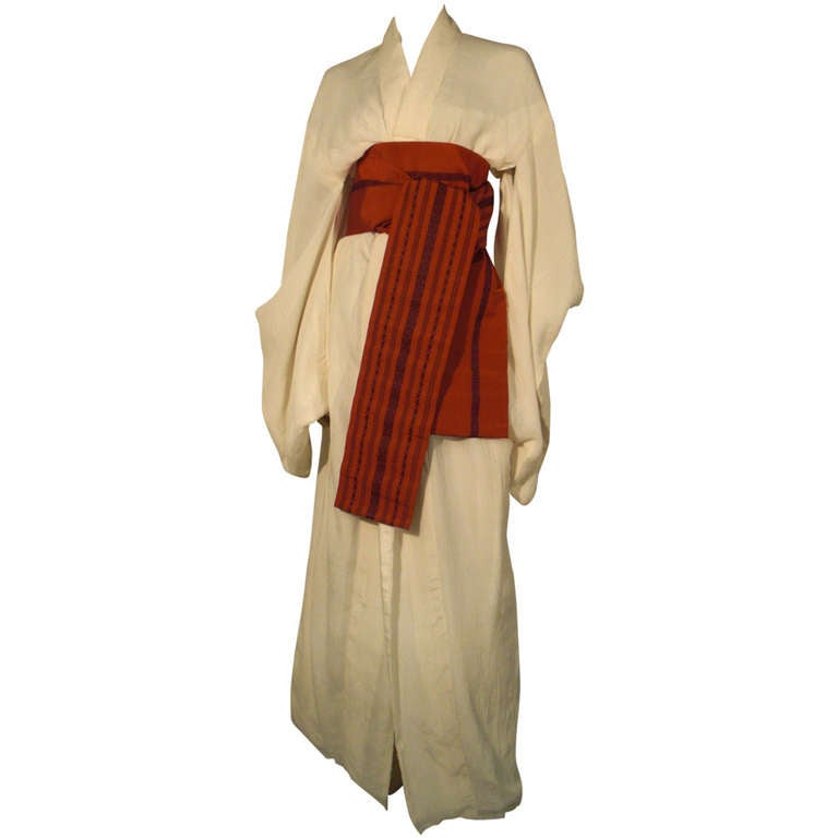 1970s White Traditional Kimono of Micro-Pleated Silk w/ Red Obi For Sale