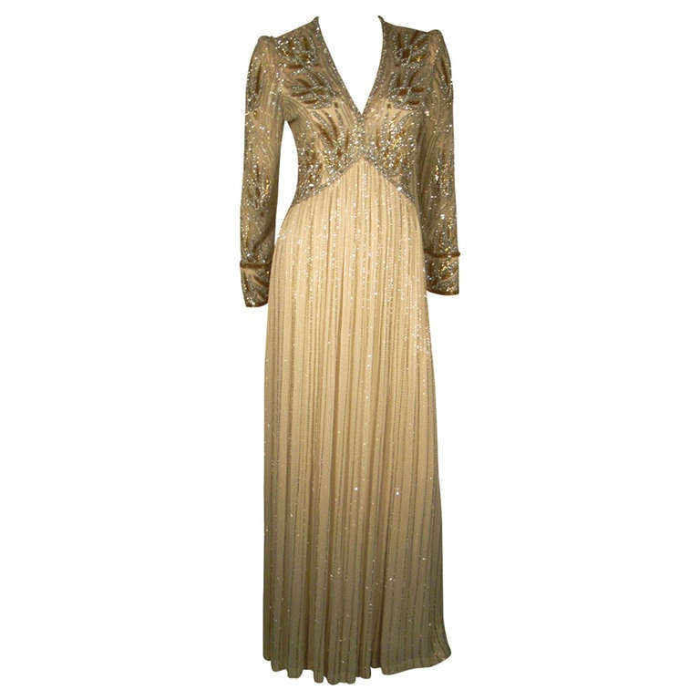 1970s Bob Mackie Silk Beaded Evening Gown 1