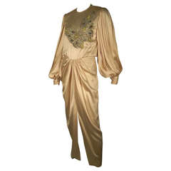 1980s James Galanos Silk Satin Draped Gown with Butterfly Embellishment