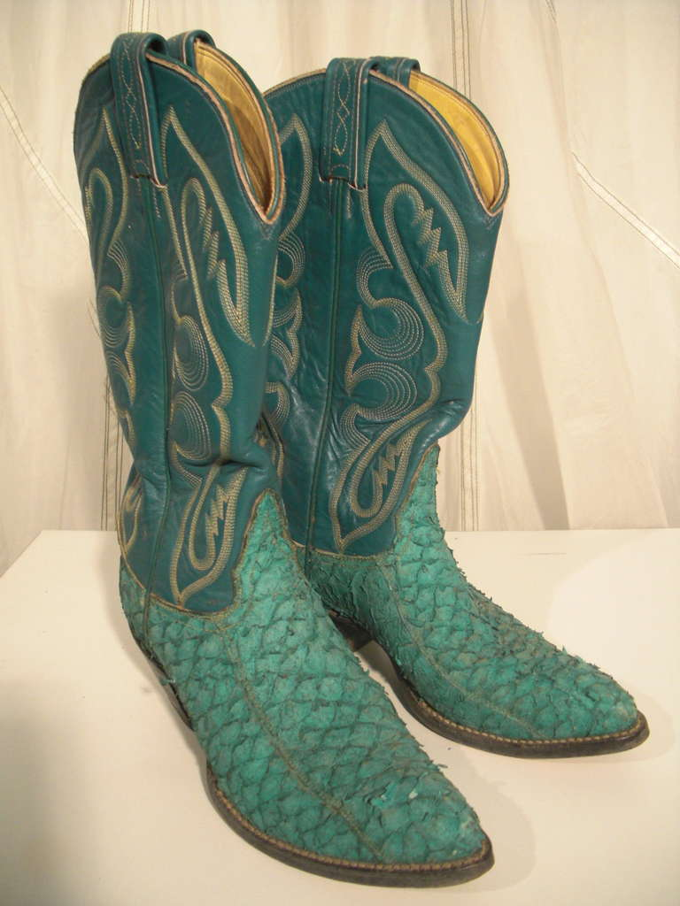 1980s Tony Lama Kelly Green Snake Skin Western Boot W